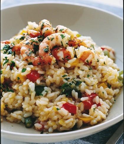 la ricetta del risotto con peperoni e gamberi
