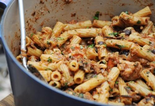 cucina, ricette, ricetta, primi piatti, melanzane, gamberi, primi con pesce,