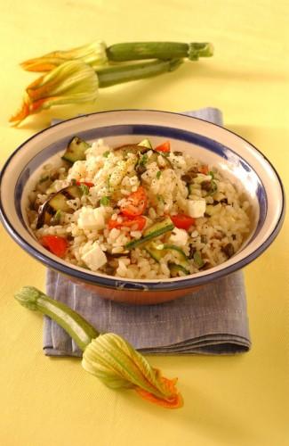 cucina, ricette, ricetta, riso, risotto, insalata di riso, feta, melanzane, zucchine,