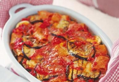 Primo piatto, secondo e contorno..Parmigiana di pasta e melanzane
