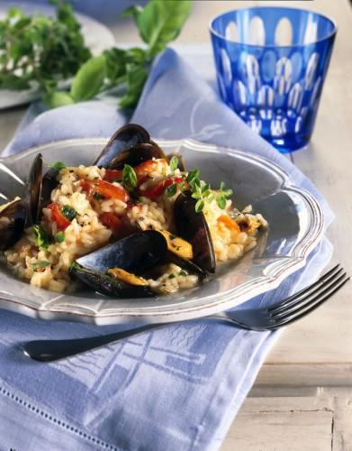 Risotto con cozze, vongole ,peperoni, risotto, cucina, ricette, ricetta pesce, primi piatti,