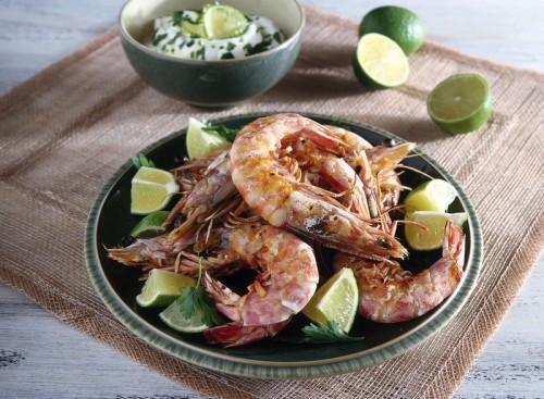 cucina, ricette, ricetta, gamberoni, gamberi, pesce, lime,yogurt, yogurt greco,