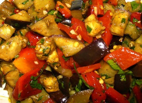 melanzane e peperoni grigliati