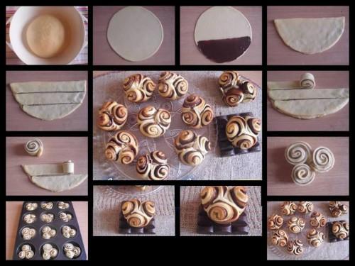 Rose di muffin con cioccolato